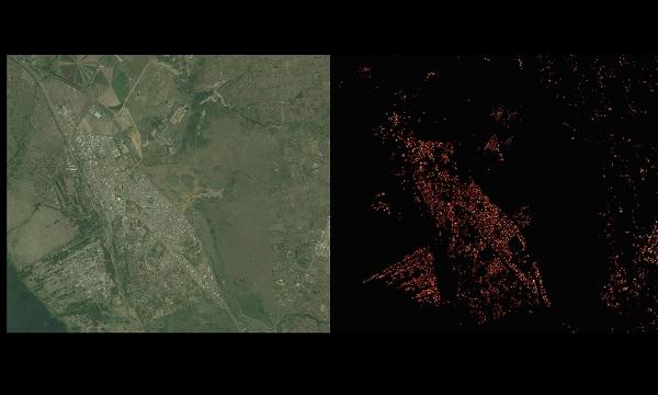 페이스북은 거주지 분포를 확인하기 위해 인공지능을 이용해 인공위성 사진(왼쪽)에서 집을 찾아내 표시했다.