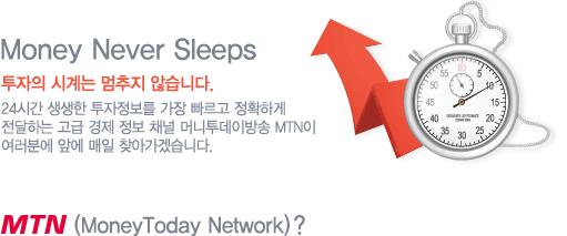 Money Never Sleeps 투자의 시계는 멈추지 않습니다. 24시간 생생한 투자정보를 가장 빠르고 정확하게 전달하는 고급 경제 정보 채널 머니투데이방송 MTN이 여러분에 앞에 매일 찾아가겠습니다. MTN (Money Today Network)?